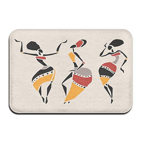 Non-Slip Indoor/Outdoor Door Mat Bath Mat,African Dancers Silhouette Set Ethnic Native Dresses Party Carnival Tradition,for Living Room Bedroom Rugs Place Mats Anchors Away Dress