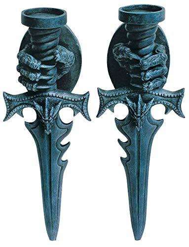 2 er Set Wand Teelichthalter Drachenklauen Drache Kerzenhalter Gothic Schwert
