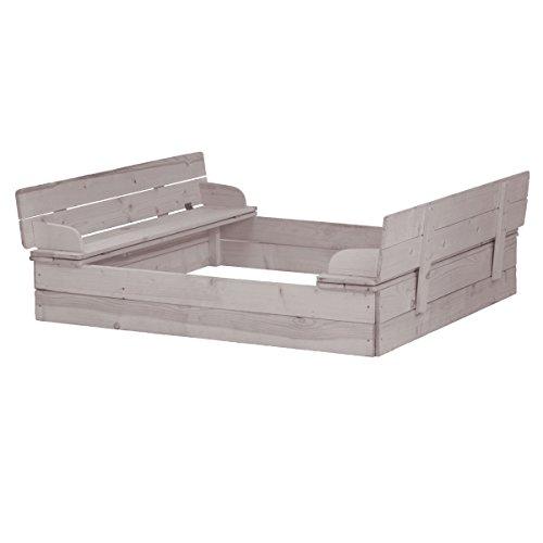XCO Sandkasten aufklappbar aus wetterfestem Holz, Grau lasiert, zur Sitzbank unfunktionierbarer Deckel - Sandkiste