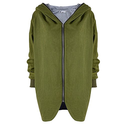 Hoodie SweatJacken Mantel Jacke Outwear - hibote Damen Uebergangsjacke Parka Zipper Hoodie mit Grosse Kapuze Blazer Mantel Coat -