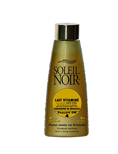 SOLEIL NOIR 36 Lait Vitaminé 4 Pailleté or Sublimateur de Bronzage