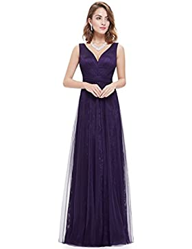 Ever Pretty Damen Sexy V-Ausschnitt Rueschen Lace Mesh Lang Party Abendkleid 08532