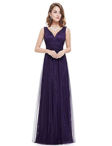 Ever Pretty Sexy V Neck Floor Length Lace Mesh Evening