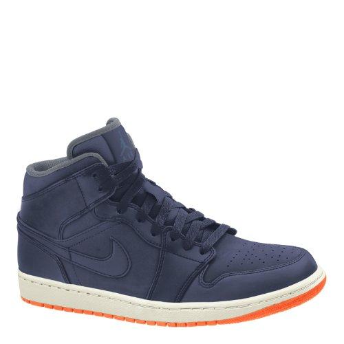 Jordan Nike Men's Air 1 Mid Nouveau Obsdn/Obsdn/ATMC Orng/Cl Gry Basketball Shoe 10.5 Men US (1 Jordan Air Nouveau)