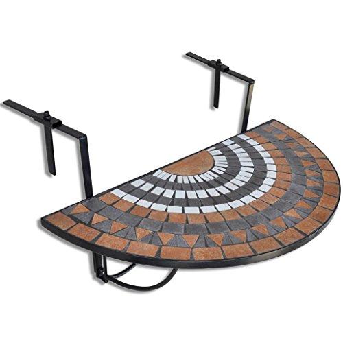 vidaXL Mesa Colgante de Balcón de Mosaico Semicircular Color Terracota y Blanco
