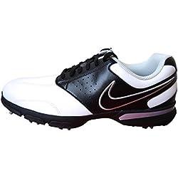 Nike Vintage Saddle2 EU, Zapatillas de Golf para Hombre, Blanco/Negro/Plateado (White/Black-Metallic Silver), 42 EU