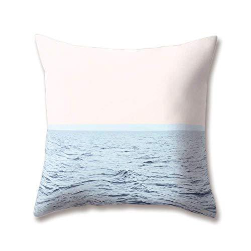 OPoplizg Soft Plush Blue Cushion Covers Ocean Sea Marine Seawater Spray Sky Beach Paintings 45cm x 45cm(18 x 18inch) Throw Soft Plush Pillow Cases for Home Sofa Bed Decorative
