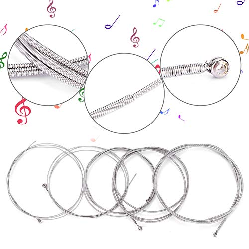Elektrische Bass Saiten, 5 Teile/Satz Ersatz Electric Bass String G-D-A-E-B Stahl + Nickel-Legierung Medium Tension String - Electric 5-string Bass