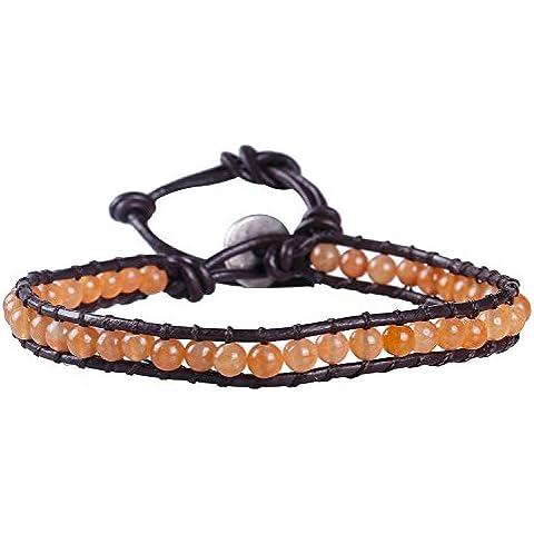 KELITCH Arancia Giada Perline Wrap Bracciale -