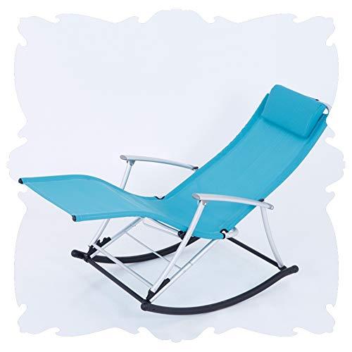 LIXIONG Schaukelstuhl Falten Lounge-Sessel All Wetter Sessel Tragbar Mit Kissen Liegen Camping Strand Am Pool ,7 Farbe (Color : Blue, Size : 150x50x90cm)