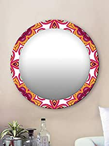 999Store Printed Classical Yellow and Pink Round Mirror (MDF_24X24 Inch_Multi)