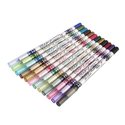 12 couleurs crayon à lèvres ombre à paupières eye-liner crayon stylo maquillage cosmétique ensemble professionnel femmes visage outil de beauté - multicolore