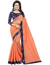 Vastrang Women's Chanderi Cotton Saree With Blouse Piece(1312ROSPCH_Peach Orange_Free Size)
