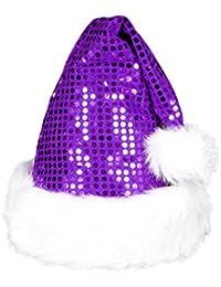 Weihnachtsmützen Nikolausmützen der pure Luxus kuschelweich , Weihnachtsmütze wählen:wm-49a pailetten lila