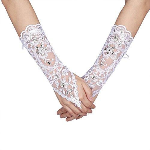 zenhandschuhe Hochzeit Braut Hochzeitshandschuhe Brautkleid Spitze Fingerlose Handschuhe mit Spitze Blumen für Hochzeitsfest ( Farbe : Elfenbein ) (Weiße Spitze Fingerlose Handschuhe)
