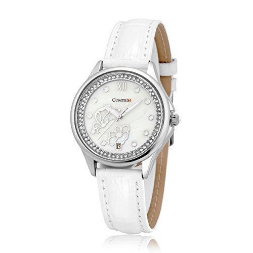 Damen Armbanduhren Automatikuhr mit weißem Leder Damenuhr Weiss