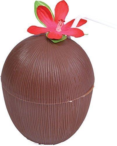 e Phantasie-strand Party Hula 2 Stück Kokosnuss Tasse-w Strohhalm & Blumen (Kokosnuss-tasse Mit Blume Und Strohhalm)