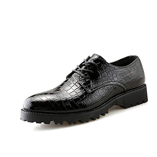 Ying xinguang Herren Business Oxford Casual Crocodile Stripes Spitz Low Top und dicken Boden