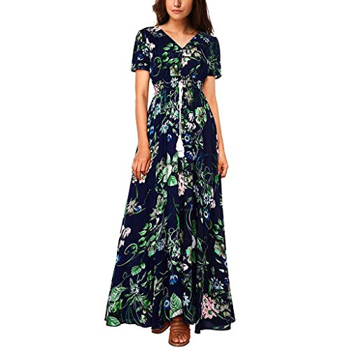 Yallylunn Floral Bedrucktes Kleid -Damen Vintage Button Up Kurzarm Split Flowy Party Lange Baumwollmischungen BöHmischer V-Ausschnitt Und KnöChel Taille Elegante TäGlich Beach Shopping Im Freien