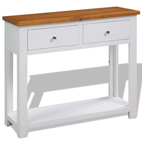 Lingjiushopping tavolo consolle 90x30x71,5 cm in legno di quercia colore: bianco e marrone materiale: rovere (top) + legno di rovere con finitura in vernice bianca