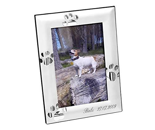 Brillibrum Design Bilderrahmen Silber mit Gravur Fotoformat 10x15cm Versilbert Hochformat & Querformat Andenken ans geliebte Haustier Fotorahmen Hunde-Pfoten Tapsen inkl. Wunschgravur bis 20 ()