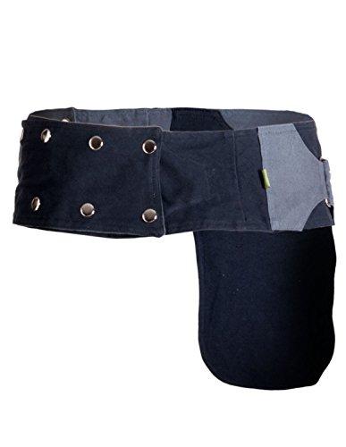 Vishes – Robuste Wende Bauchtasche mit Drucknöpfen – Zweifarbig Türkis grau-schwarz