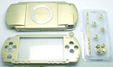 Gold Full Gehäuse Reparatur Mod Fall Shell Frontplatte, Case Hülle + Tasten Knöpfe Button Ersatz für Sony PSP 1000Konsole