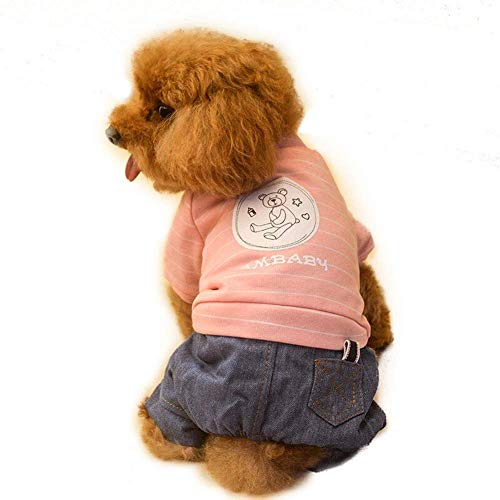 (IF.HLMF 3 Colors Pet Clothes, Autumn and Winter Small Dog Cats Clothes 4 Leg Pomeranian Stripe Puppies Clothes (Color : PINK, Size : L))