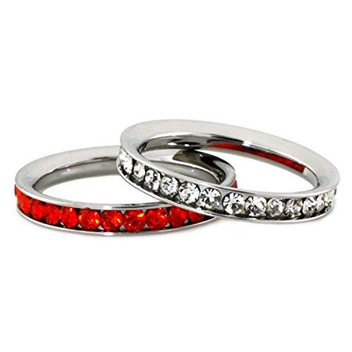 Acciaio inossidabile Eternità 3mm e Giacinto Colore anelli di cristallo