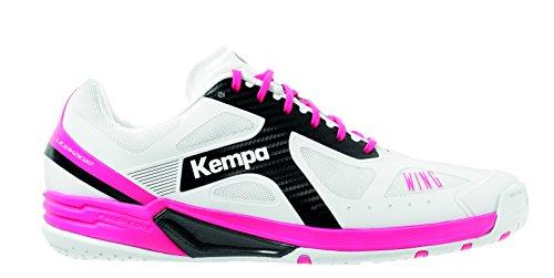 Kempa Wing Lite Women, Zapatillas de Balonmano para Mujer, Blanco (Blanco/Negro/Fucsia 000), 42.5 EU