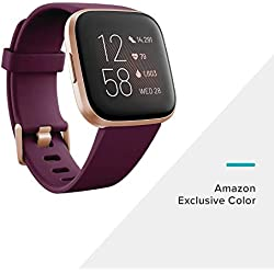 Fitbit Versa 2, el smartwatch que te ayuda a mejorar la salud y la forma física, y que incorpora control por voz, puntuación del sueño y música, Burdeos - Amazon Alexa Integrado