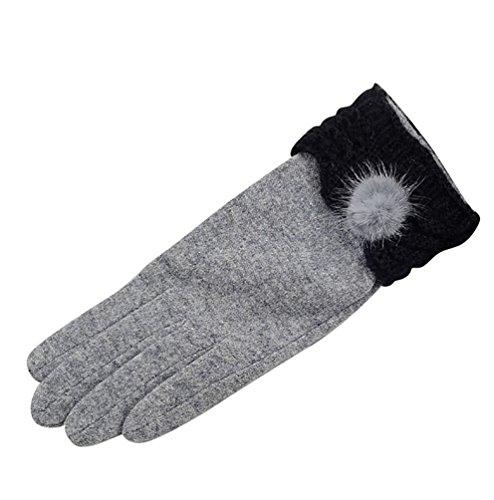 NiSeng Femmes Doux Tricoter des Gants Compatibles Ecrans Tactiles de Gants pour Hiver Femme Gris