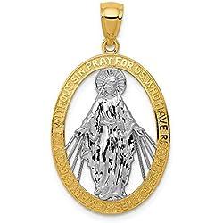 Hermoso chapado en rodio oro y plata 14 K 14 K con medalla de rodio pulido milagrosa viene con un regalo de joyería gratis