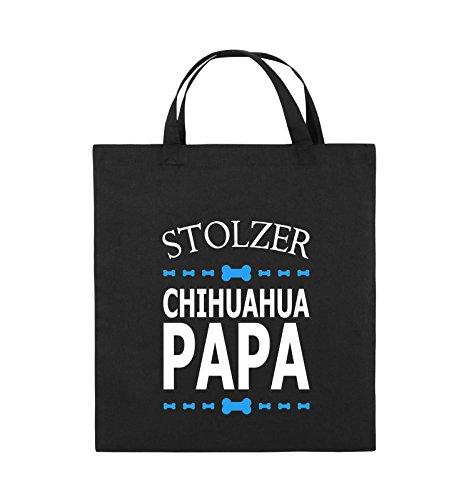 Comedy Bags - Stolzer Chihuahua Papa - Jutebeutel - kurze Henkel - 38x42cm - Farbe: Schwarz / Weiss-Neongrün Schwarz / Weiss-Hellblau