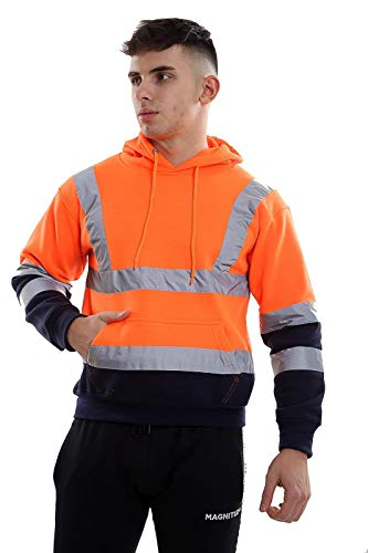Crazy Girls Mens Zip Up Fleece Hoody Hi Viz Visibility Pullover Sweatshirt Safety Work Jumper Top