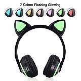 Yiwa ETbotu Kabellose Kopfhörer Bluetooth 4.2, Katzenohren, Kopfband, LED-Lichter, Kopfhörer für Kinder und Mädchen