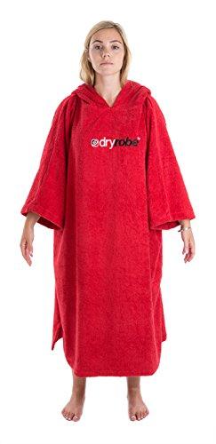 Dryrobe Advance - Frottee-Umkleidemantel für Erwachsene - kurzärmeliger Poncho aus Handtuchstoff - Rot (Max Hände-t-shirt)