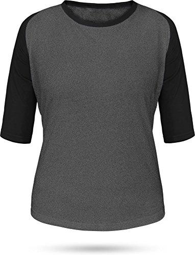 normani Baseball/Kontrast Shirt | 3/4 Arm für Damen Farbe Anthrazit/Schwarz Größe M (Jersey Baseball Armee)