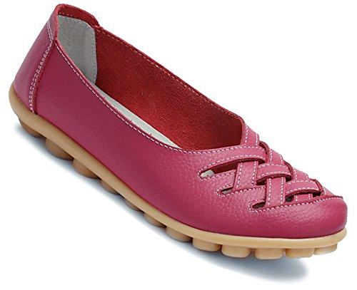 Fangsto Loafer Flats, Mädchen Damen Sneaker Low-Tops, Mehrfarbig - Fuchsia - Größe: 40 (Classic Driving-mokassin)
