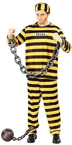 Gefangene USA überführen Schwindel Uniform burgalar Polizisten & Räuber Kostüm Kleid Outfit groß - Gelb, Large (Räuber Outfits)