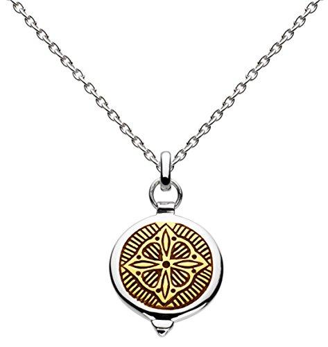 Dew–Collar de plata de ley y oro talismán de longitud 45,7cm