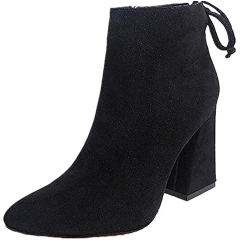 FEITONG Corto Cilindro Botas Elegante Botas de tacón alto Tobillo Nudo Invierno Zapatos