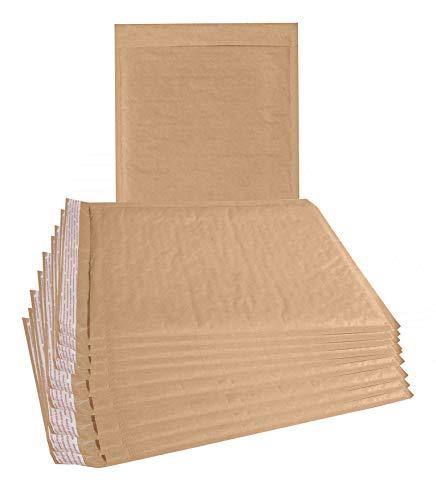 Luftpolsterumschläge, natürlich, Kraftpapier, 8,5 x 11 cm, Braun, 10 Stück Haftklebung. Braune Kissenumschläge für Versand, Verpackung Stabile Kraft-Versandtaschen, Großhandel.