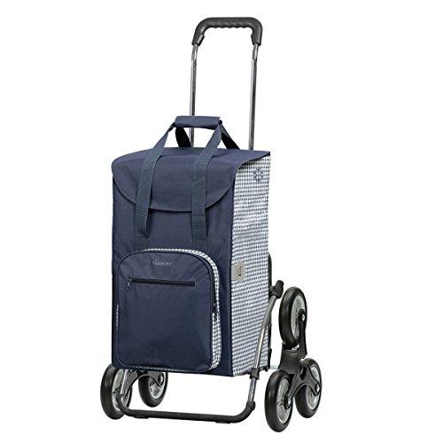 Andersen Sondermodell Einkaufstrolley Royal als Treppensteiger & Einkaufstasche Dante blau/weiß mit Kühlfach | Einkaufswagen klappbar | Trolley Gestell Stahl