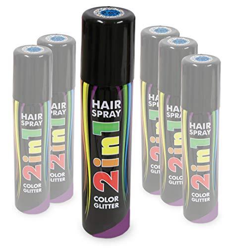 KarnevalsTeufel Hairspray 2in1 Color und Glitter buntes Haarspray mit Glitzer Haarschmuck farbig (Blau)