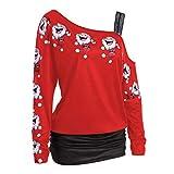 Damen Bekleidung Honestyi Womens Christmas Print Tops Langarm Off Schulter Lange Bluse Shirt Tops(Rot, L)
