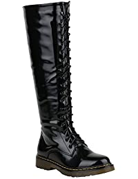 415049b84b6f Stiefelparadies Damen Schnürstiefel mit Blockabsatz Profilsohle Flandell