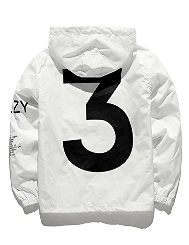 Onbay Herren Hoodie Windjacke mit Kapuze Drucken Jacke Coat Streetwear Kapuzenjacke Übergangsjacke