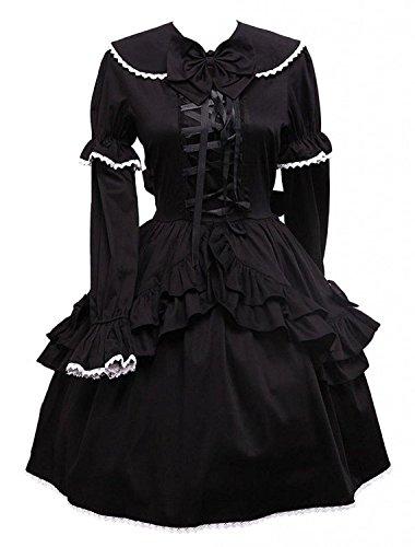 Cemavin Womens Baumwolle Schwarze Lange ärmel Lolita (Kostüme Kleid Go Go)