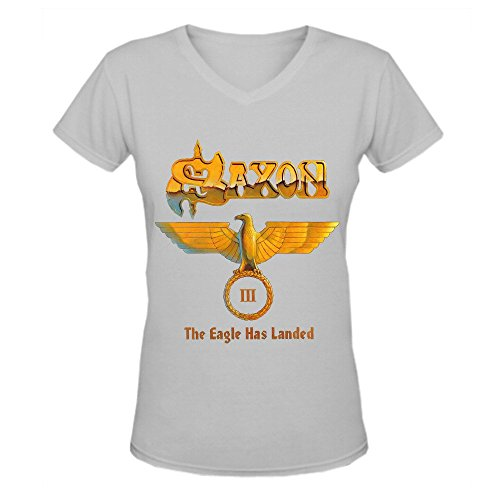 Saxon The Eagle Has Landed III Sexy Donna V Neck T-Shirt XXXX-L grigio L